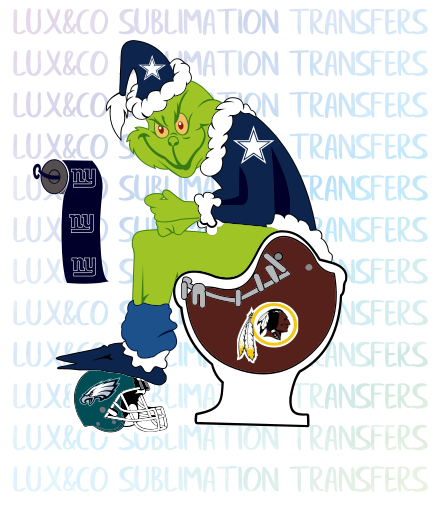 Grinch Dallas Cowboys  Shitting on Redskins Football Sublimation Waterslide Transfer