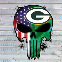Green Bay Packers Skull Football American Flag Sublimation Transfer