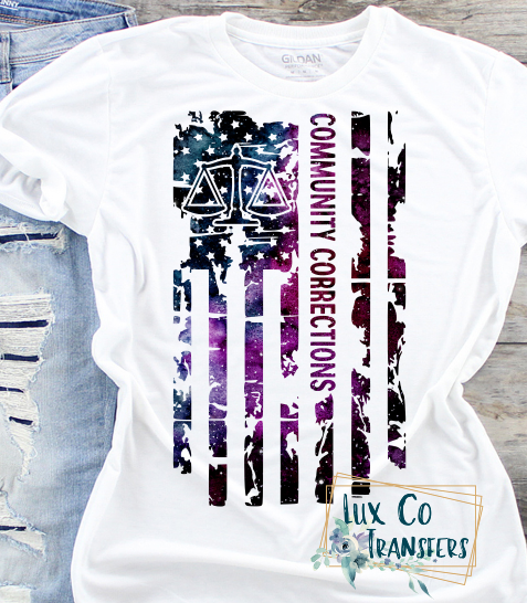 Community Corrections American Flag Sublimation PNG Digital Design