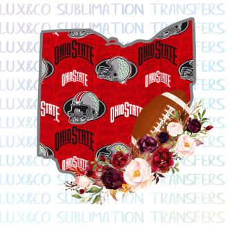 Ohio State Buckeyes Flower Football State Sublimation Transfer