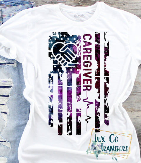 Caregiver American Flag Sublimation PNG Digital Design