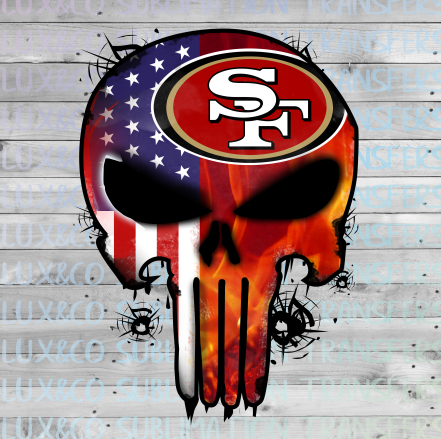 San Francisco 49ers Punisher Skull Football Sublimation Transfer