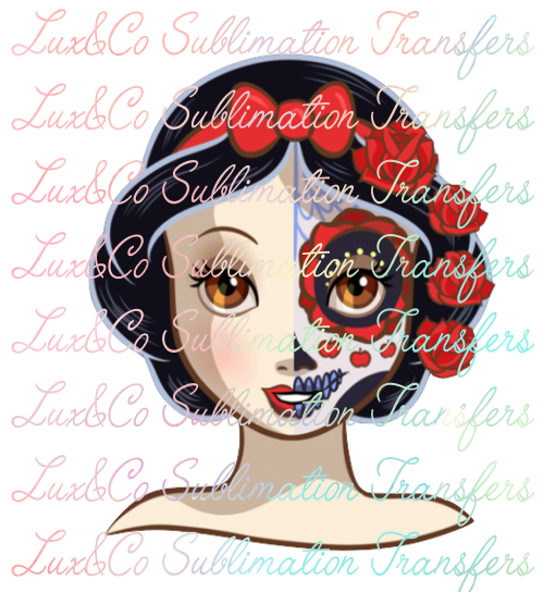 **SALE** Snow White Sugar Skull Sublimation Transfer