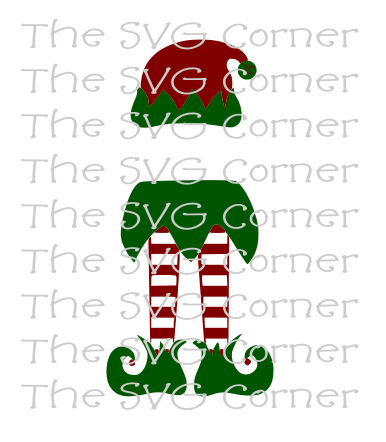 Elf Monogram Legs Hat Christmas Winter Holiday SVG File