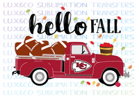 Hello Fall KC Chiefs Football Vintage Truck Sublimation Transfer