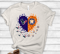 Houston  Astros Texans Split Heart Sublimation PNG Digital Design