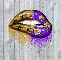 LSU Saints Split Glitter Dripping Lips Sublimation PNG Digital Design