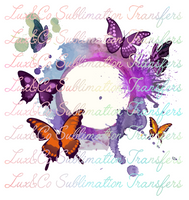 Watercolor Butterfly Monogram Frame Sublimation Transfer