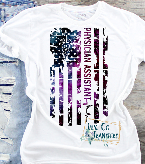 Physician Assistant Galaxy American Flag Sublimation Transfer