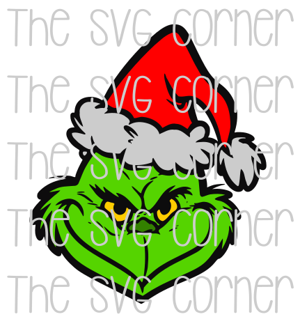 Grinch Head Face Winter Christmas Holiday SVG File