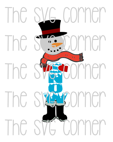 Snowman Sign Winter Christmas Holiday SVG File