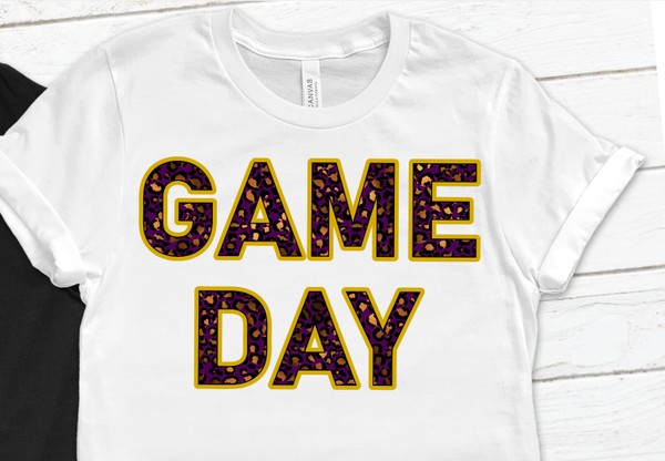 Game Day Cheetah Purple Gold Sublimation PNG Digital Design