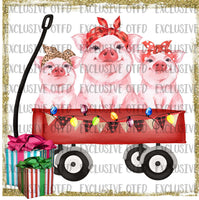 Christmas Pig Wagon Sublimation Transfer