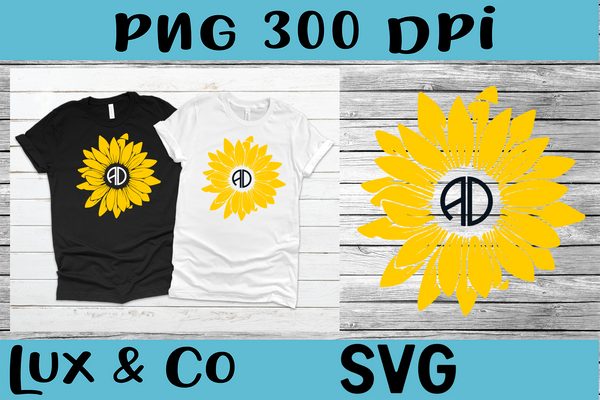 Sunflower Monogram SVG PNG Digital Design