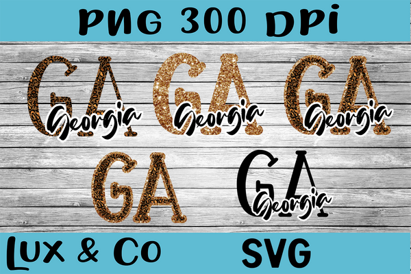 Georgia GA Leopard State Bundle SVG INCLUDED Sublimation PNG Digital Design