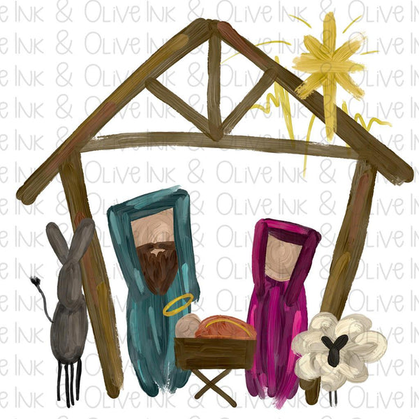 Manger Nativity Scene Christmas Sublimation Transfer