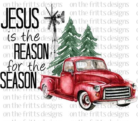 Jesus is the Reason for the Season Vintage Truck Sublimation Transfer