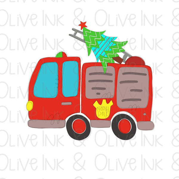 Christmas Firetruck Tree Sublimation Transfer