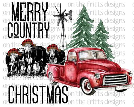 Merry Country Christmas Cows Sublimation Transfer
