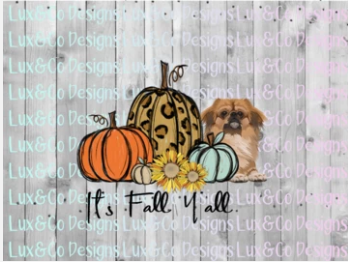 Its Fall Yall Cheetah Sunflower Dog Pekingese Sublimation Transfer