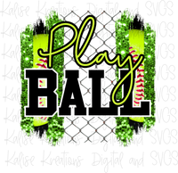 Play Ball Softball Green Sublimation Transfer