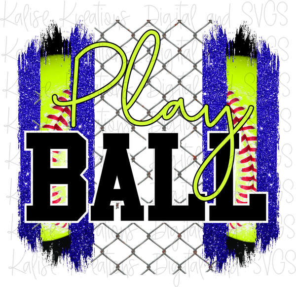 Play Ball Softball Blue Sublimation Transfer