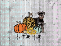 Its Fall Yall Cheetah Sunflower Dog schnauzer  Sublimation Transfer