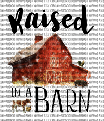 Raised in a Barn Sublimation Transfer