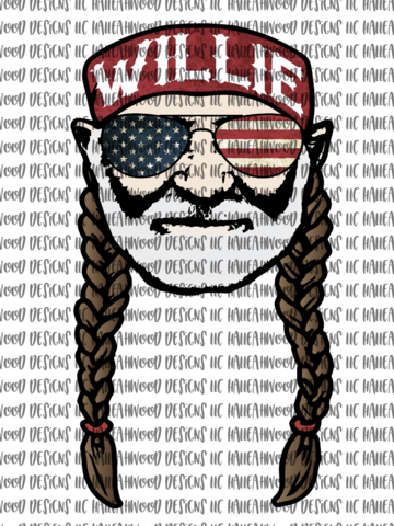 Willie Nelson American Flag Patriotic Sublimation Transfer