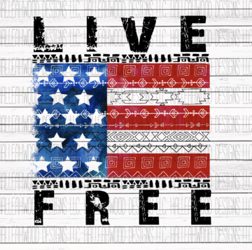 Live Free American Flag Sublimation Transfer