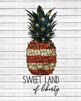 Sweet Land of Liberty Pineapple Sublimation Transfer