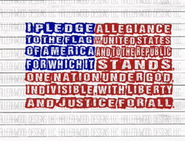 Pledge Allegiance American Flag Sublimation Transfer