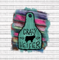 Crazy Heifer Cow Brand Tag Sublimation Transfer