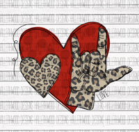 Leopard Valentines Heart Hand 143 Love Sublimation Transfer