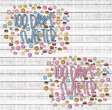 PINK 100 Days Sweeter Donuts 100 Days of School Sublimation Transfer