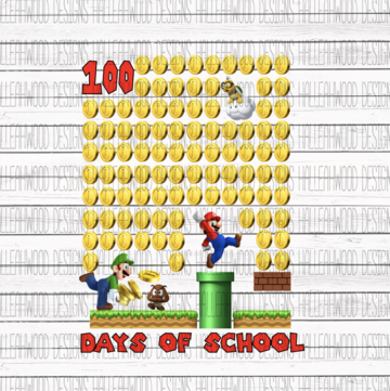 Mario 100 Days of School Sublimation Transfer