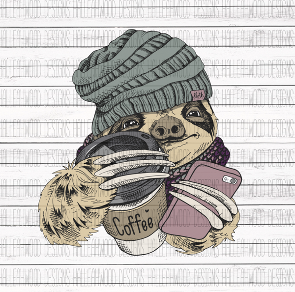 Hipster Sloth Coffee Phone Sublimation Transfer
