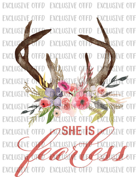 She is Fearless Boho Chic Floral Skull Sublimation Transfer