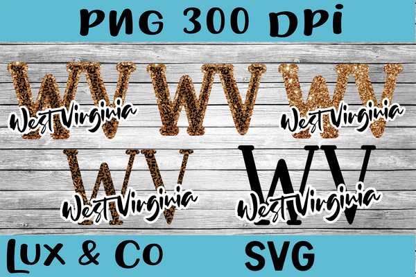 West Virginia WV Leopard State Bundle SVG INCLUDED Sublimation PNG Digital Design