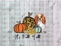Its Fall Yall Cheetah Sunflower Dog Cavalier King Charles Sublimation Transfer