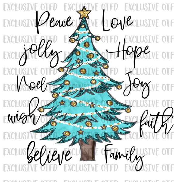 Christmas Tree Words Sublimation Transfer
