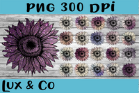 Sunflower Purple Bundle Sublimation PNG Digital Design