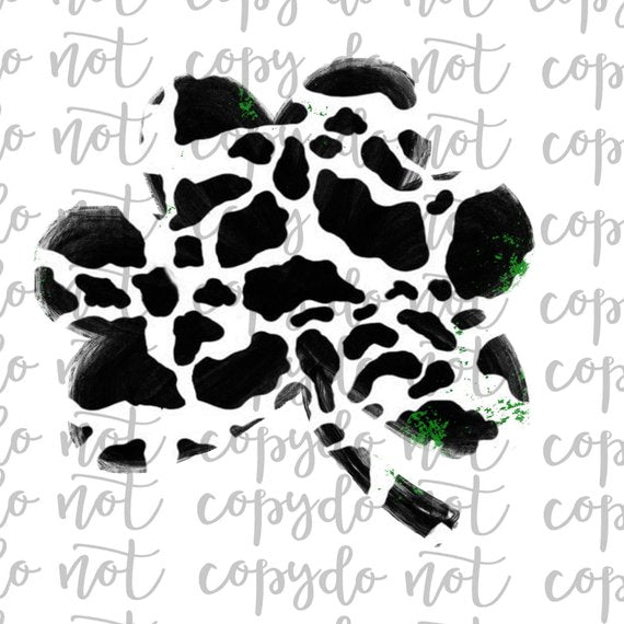 Cow Print Shamrock Sublimation Transfer Waterslide