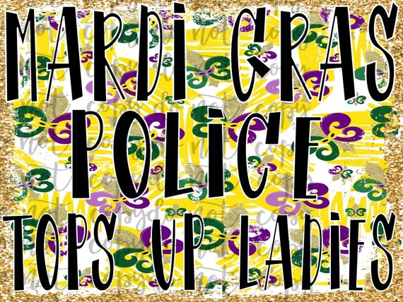 Mardi Gras Police Tops Up Ladies Sublimation Transfer Waterslide