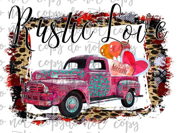 Rustic Love Vintage Truck Sublimation Transfer Waterslide