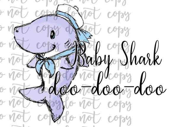 Baby Shark Doo Doo Doo Sublimation Transfer Waterslide