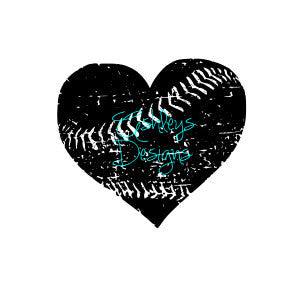 Distressed Baseball Softball  Heart SVG FILE