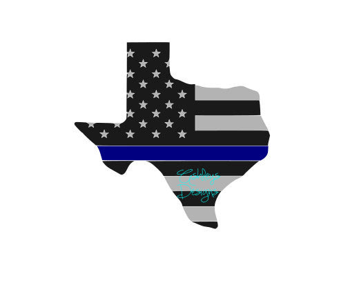 Texas State American Flag Police SVG File