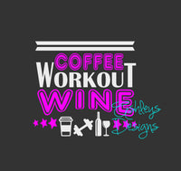 Coffee Workout Wine SVG File