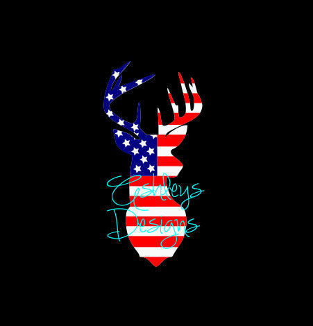 4th of July Buck Deer American Flag Head SVG File